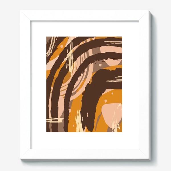 Картина «Современный модный абстрактный узор в коричневых пастельных тонах. пятна, овалы, круги, разводы»