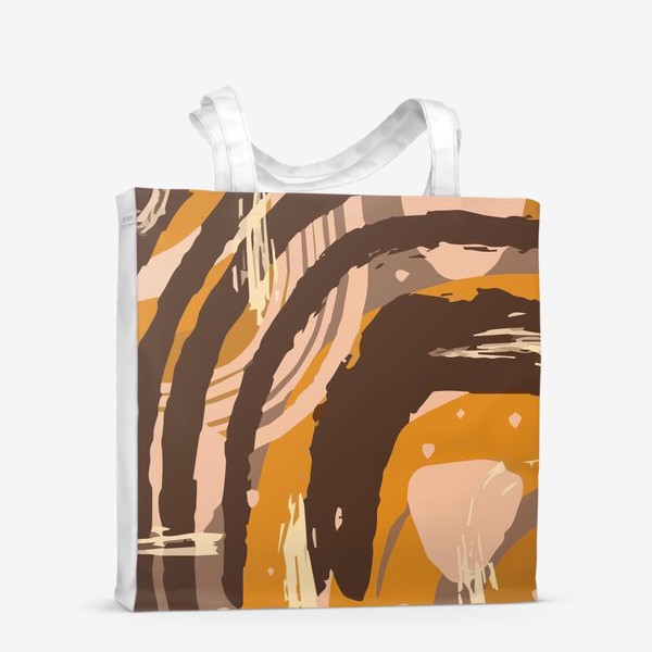 Сумка-шоппер «Современный модный абстрактный узор в коричневых пастельных тонах. пятна, овалы, круги, разводы»