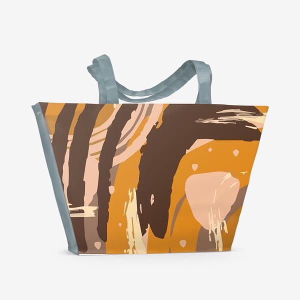 Пляжная сумка «Современный модный абстрактный узор в коричневых пастельных тонах. пятна, овалы, круги, разводы»