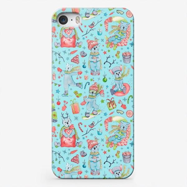 Чехол iPhone «Полярные мишки. Новый год. Голубой.»