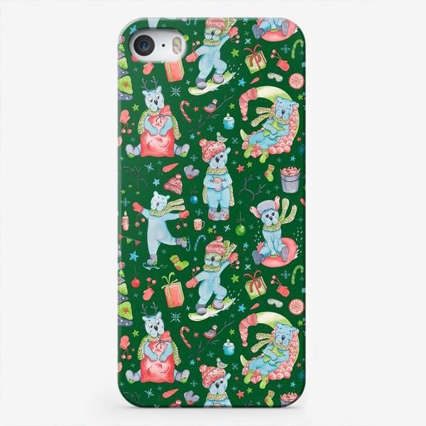 Чехол iPhone «Полярные мишки. Новый год. Зеленый.»