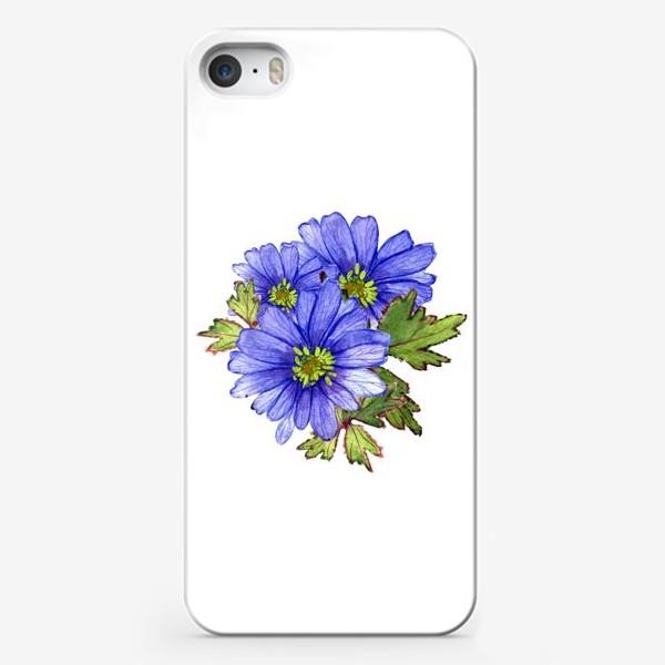 Чехол iPhone «синие цветы»