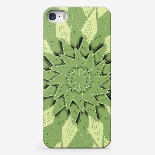 Чехол iPhone «Абстрактный цветок - алоэ, геометрия с тенью, оттенки зеленого»