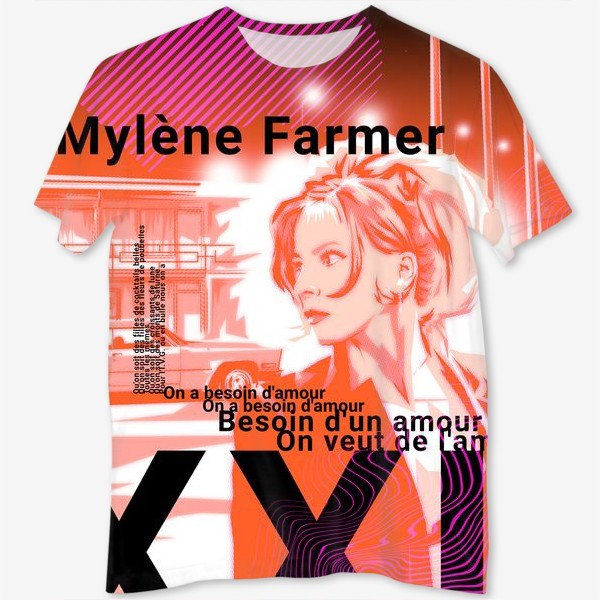 Футболка с полной запечаткой «Mylene Farmer»