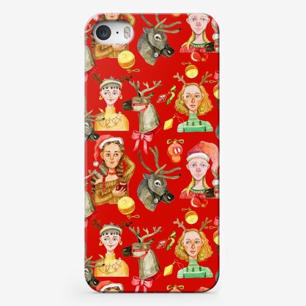 Чехол iPhone «Новый год красный и золотой»