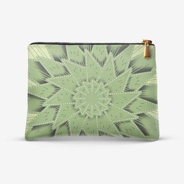 Косметичка «Абстрактный цветок - алоэ, геометрия с тенью, оттенки зеленого»