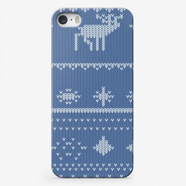 Чехол iPhone «вязаный узор с оленями»