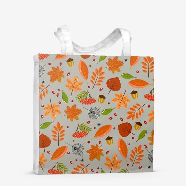 Сумка-шоппер «осенние листья и паутинка»