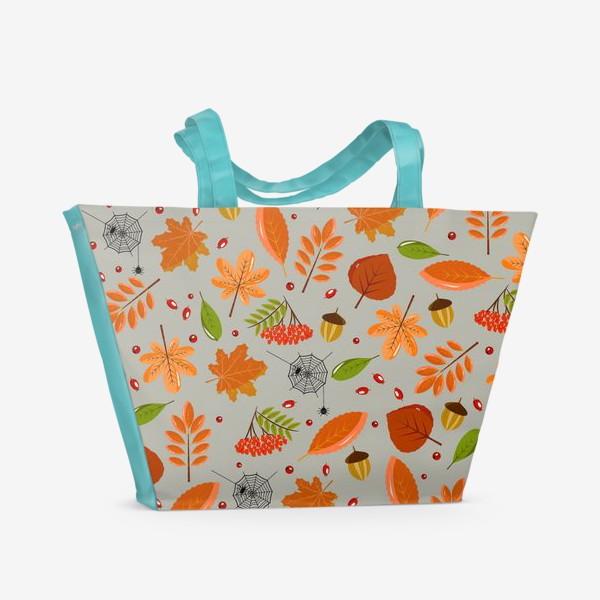 Пляжная сумка «осенние листья и паутинка»