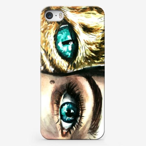 Чехол iPhone «голубые глаза, девушка и кошка»