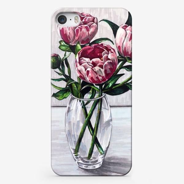Чехол iPhone «Пионы в вазе. Маркеры»