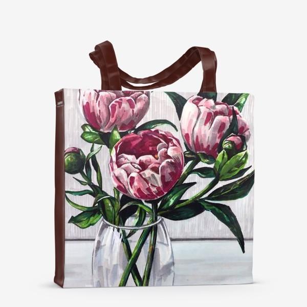 Сумка-шоппер «Пионы в вазе. Маркеры»
