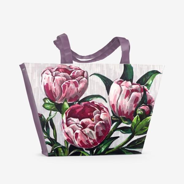 Пляжная сумка «Пионы в вазе. Маркеры»