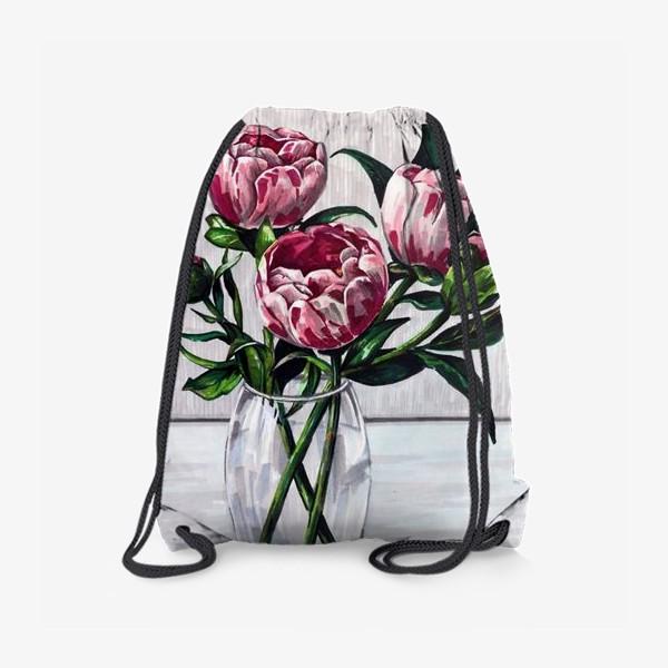Рюкзак «Пионы в вазе. Маркеры»