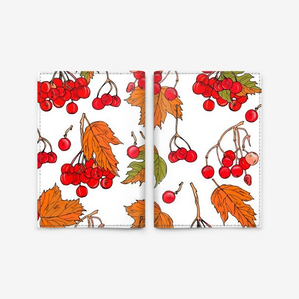 Обложка для паспорта «калина ягоды и листья»