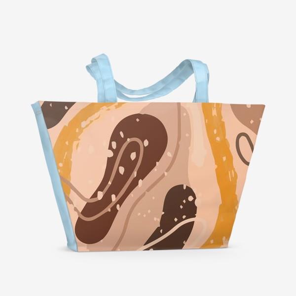 Пляжная сумка «Абстрактный узор. Стиль Бохо. Бежевые пятна, овалы, круги, разводы»