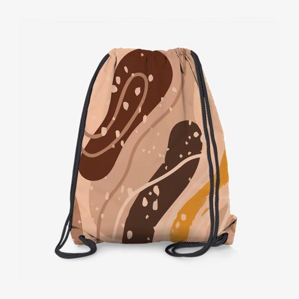 Рюкзак «Абстрактный узор. Стиль Бохо. Бежевые пятна, овалы, круги, разводы»