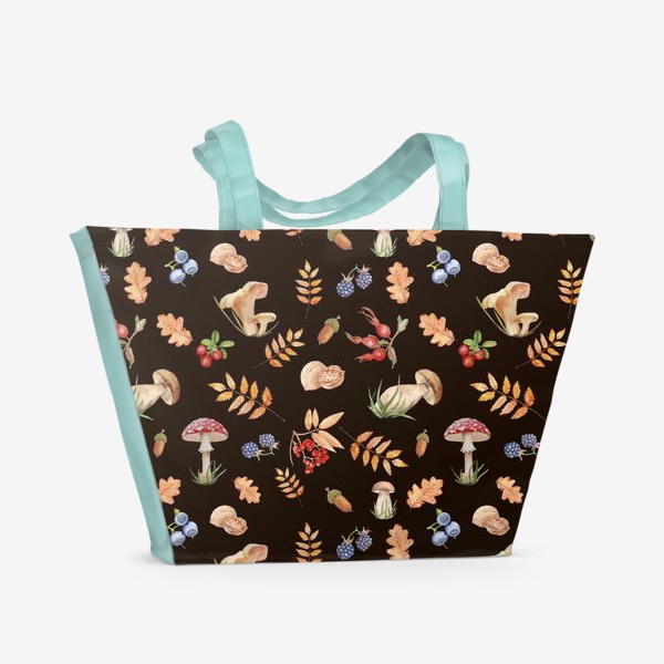 Пляжная сумка «Seamless pattern with hand-painted watercolor autumn leavesthe , branches, nuts, acorns, mushrooms and berries.»