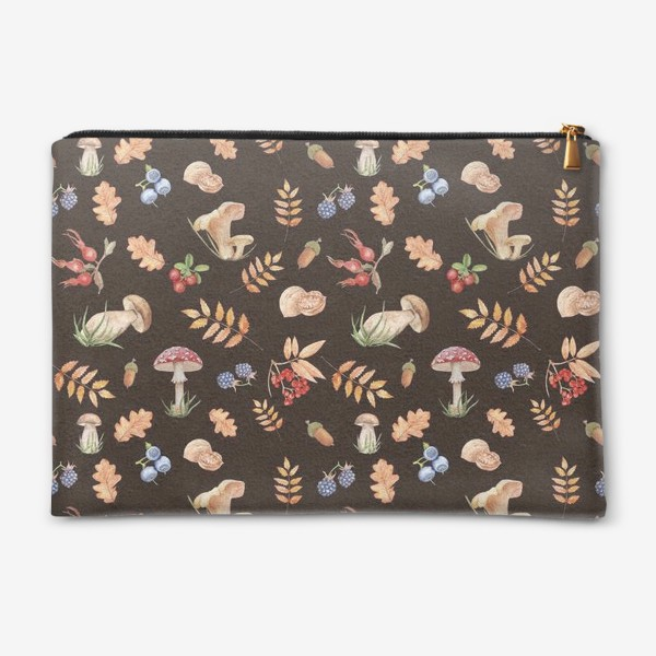 Косметичка «Seamless pattern with hand-painted watercolor autumn leavesthe , branches, nuts, acorns, mushrooms and berries.»