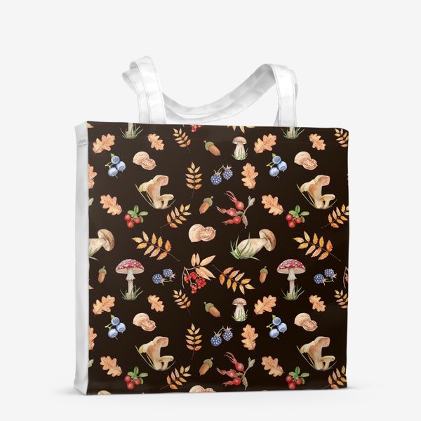 Сумка-шоппер «Seamless pattern with hand-painted watercolor autumn leavesthe , branches, nuts, acorns, mushrooms and berries.»