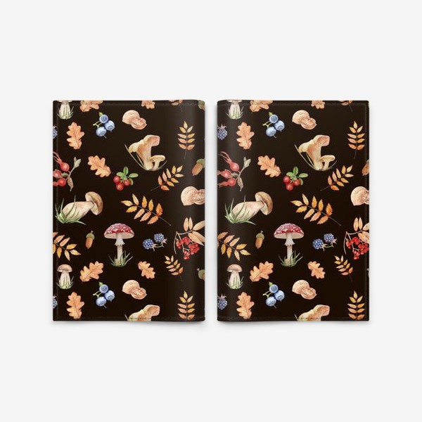 Обложка для паспорта «Seamless pattern with hand-painted watercolor autumn leavesthe , branches, nuts, acorns, mushrooms and berries.»