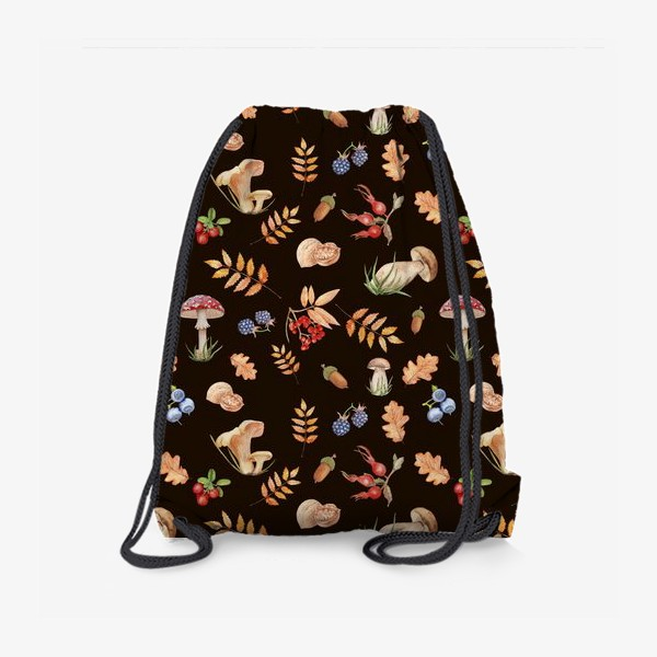 Рюкзак «Seamless pattern with hand-painted watercolor autumn leavesthe , branches, nuts, acorns, mushrooms and berries.»