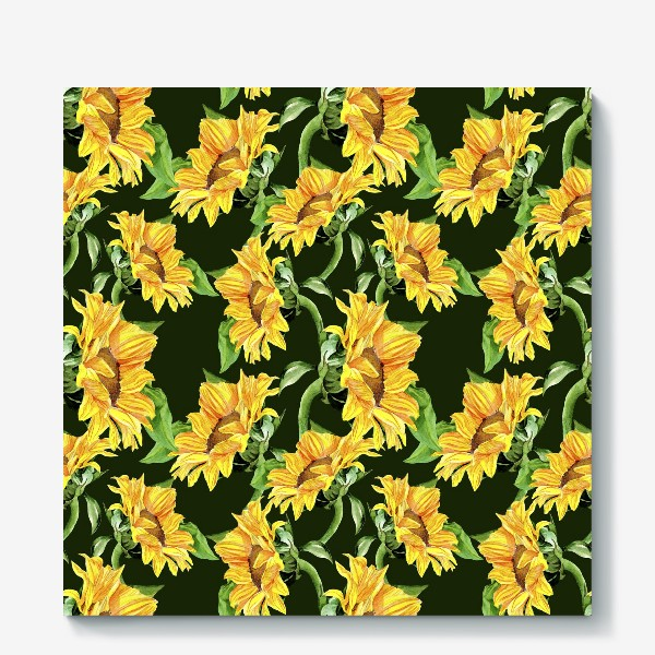 Холст «Sunflower field. Watercolor seamless pattern »