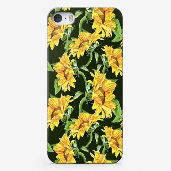 Чехол iPhone «Sunflower field. Watercolor seamless pattern »