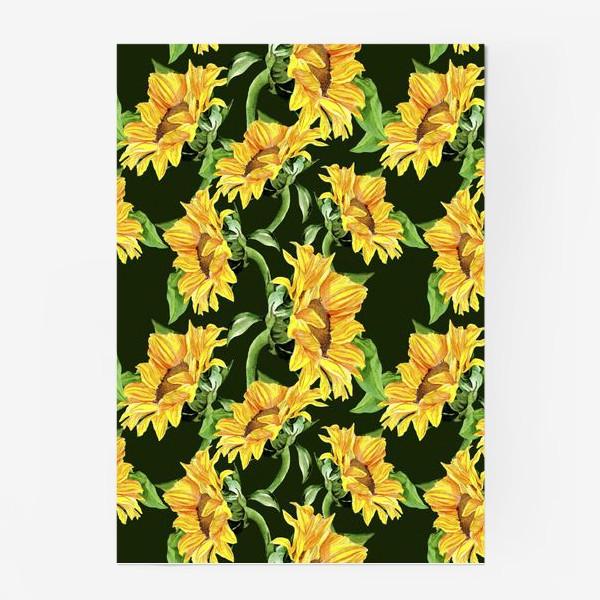 Постер «Sunflower field. Watercolor seamless pattern »
