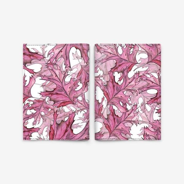 Обложка для паспорта «розовые листья»