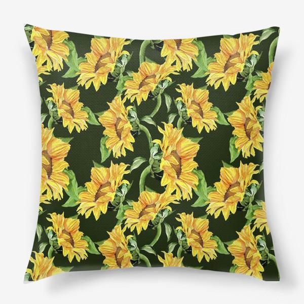 Подушка «Sunflower field. Watercolor seamless pattern »