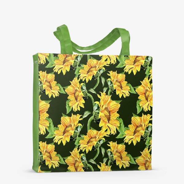 Сумка-шоппер «Sunflower field. Watercolor seamless pattern »