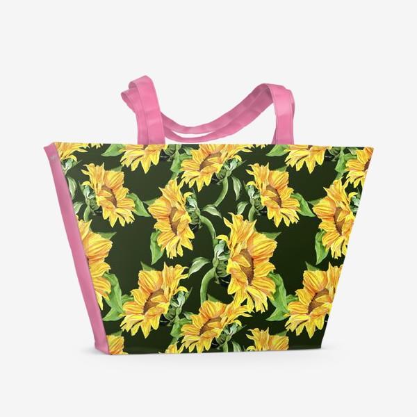 Пляжная сумка «Sunflower field. Watercolor seamless pattern »