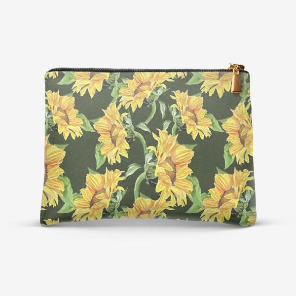 Косметичка «Sunflower field. Watercolor seamless pattern »