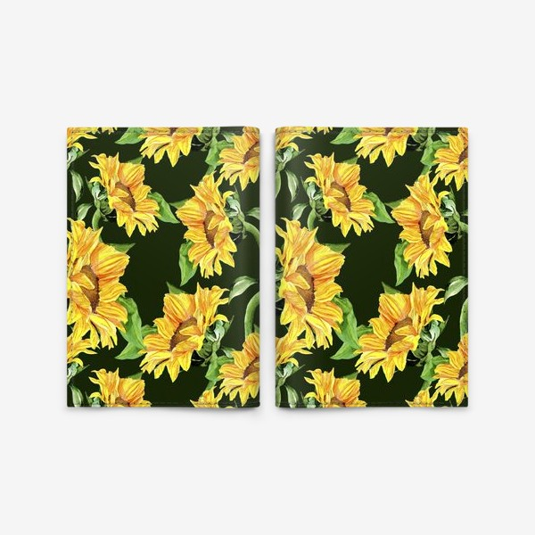 Обложка для паспорта «Sunflower field. Watercolor seamless pattern »