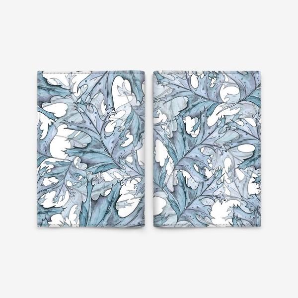 Обложка для паспорта «голубые листья»