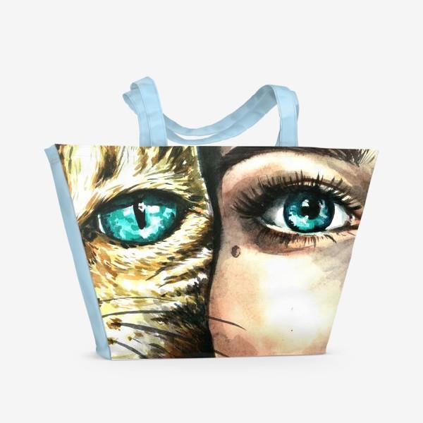 Пляжная сумка «голубые глаза, девушка и кошка»