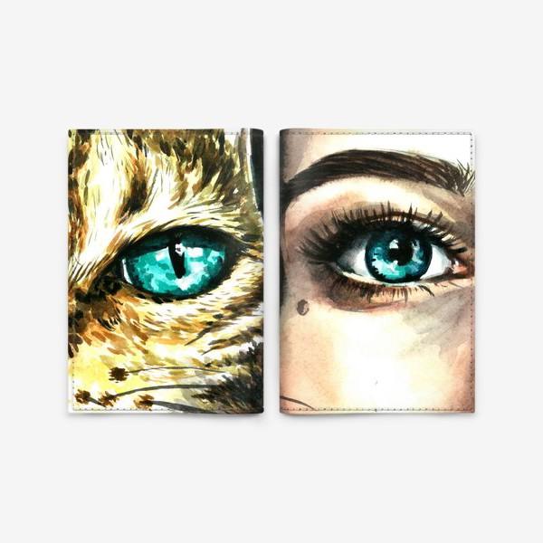 Обложка для паспорта «голубые глаза, девушка и кошка»