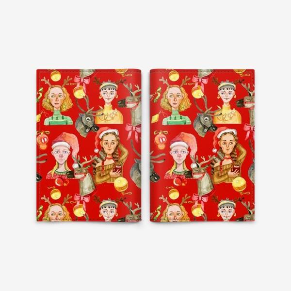 Обложка для паспорта «Новый год красный и золотой»