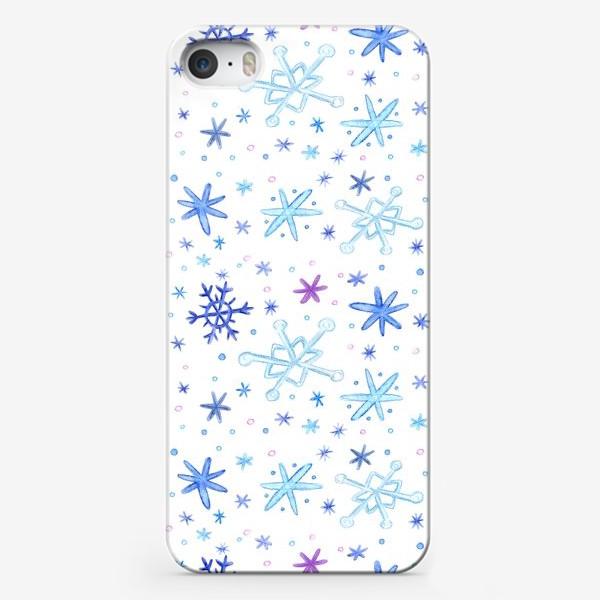 """Чехол iPhone «Паттерн """"Акварельные снежинки""""»"""