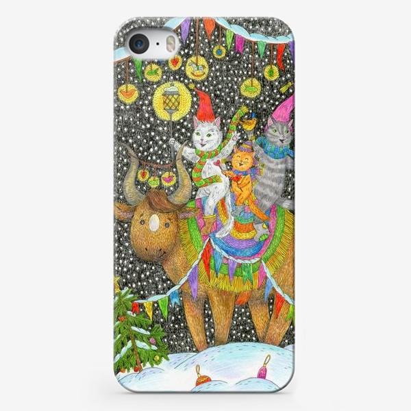 Чехол iPhone «Год быка и веселые котики»