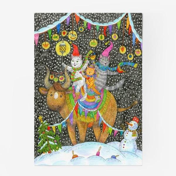 Постер «Год быка и веселые котики»