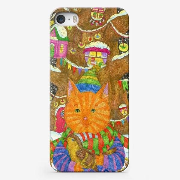 Чехол iPhone «Милый рыжий кот в Новый год»