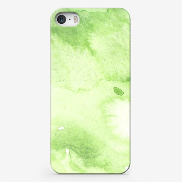 Чехол iPhone «Watercolor abstraction, green background, handmade. »