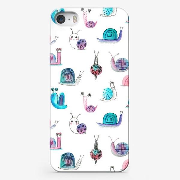 Чехол iPhone «Милашки улитки, акварельные»