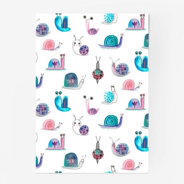 Постер «Милашки улитки, акварельные»