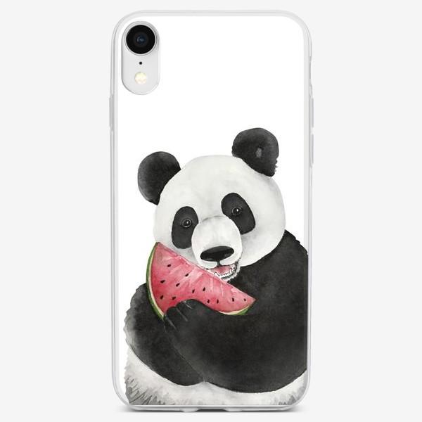 Чехол iPhone «милый мишка панда с долькой арбуза »