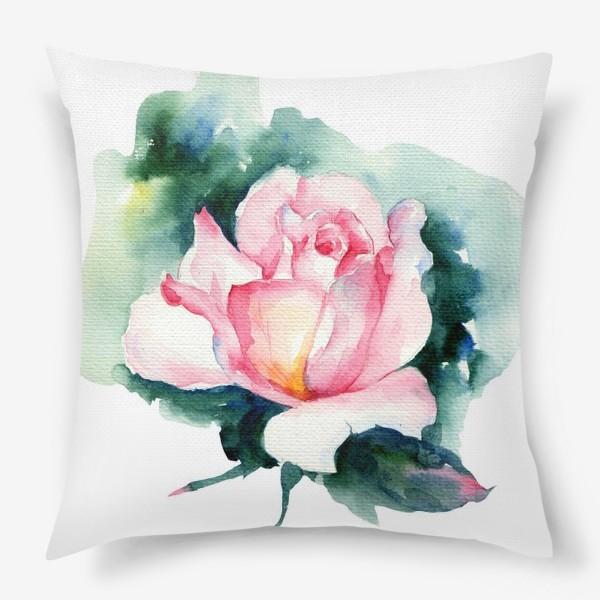 Подушка «Роза акварелью»