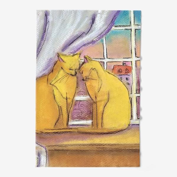 Полотенце «Котики в Париже Романтика День Святого Валентина Пастель»