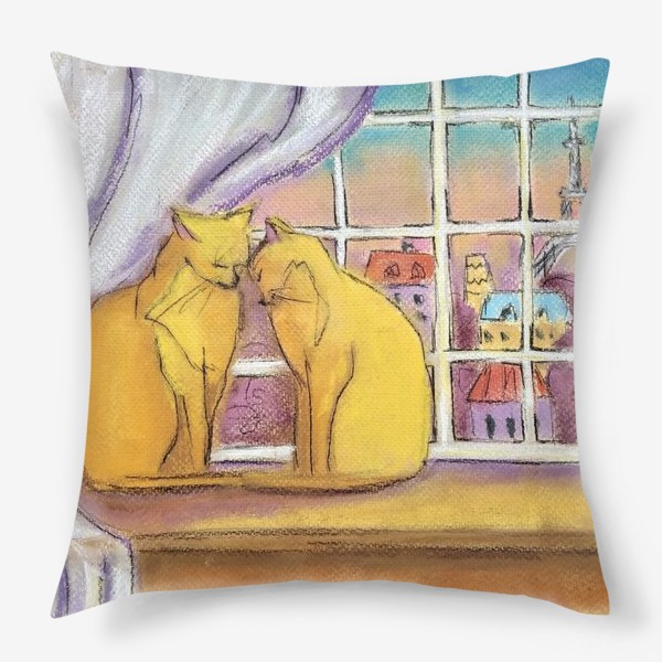 Подушка «Котики в Париже Романтика День Святого Валентина Пастель»